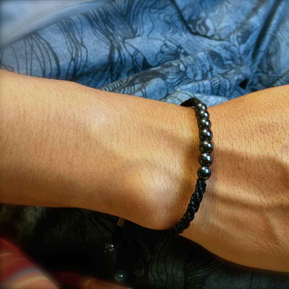 Rope Bracelet Black with Hematite Stones - Surfer Bracelet Handmade Woven Rope Drawstring Bracelet by Rumi Sumaq