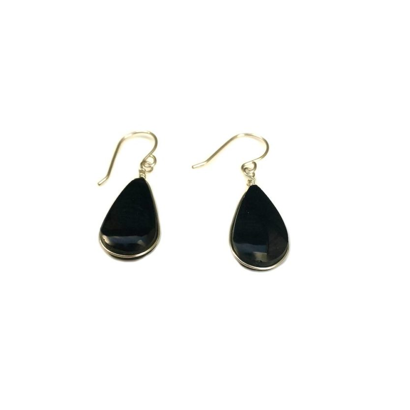 Black Obsidian earrings in Sterling Silver by designer Coco Paniora Salinas of Rumi Sumaq