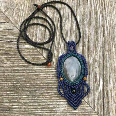 Blue Agate Macrame Necklace by Designer Coco Paniora Salinas of RUMI SUMAQ. Hand-knotted Bohemian Jewelry on Martha's Vineyard