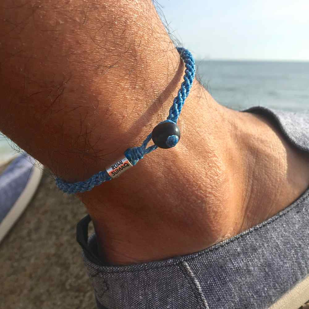 Blue Anklet with Beaded Hematite Stones for Men and Women by Rumi Sumaq