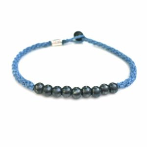 Surfer Anklet Blue Rope with Beaded Hematite Stones for Men and Women