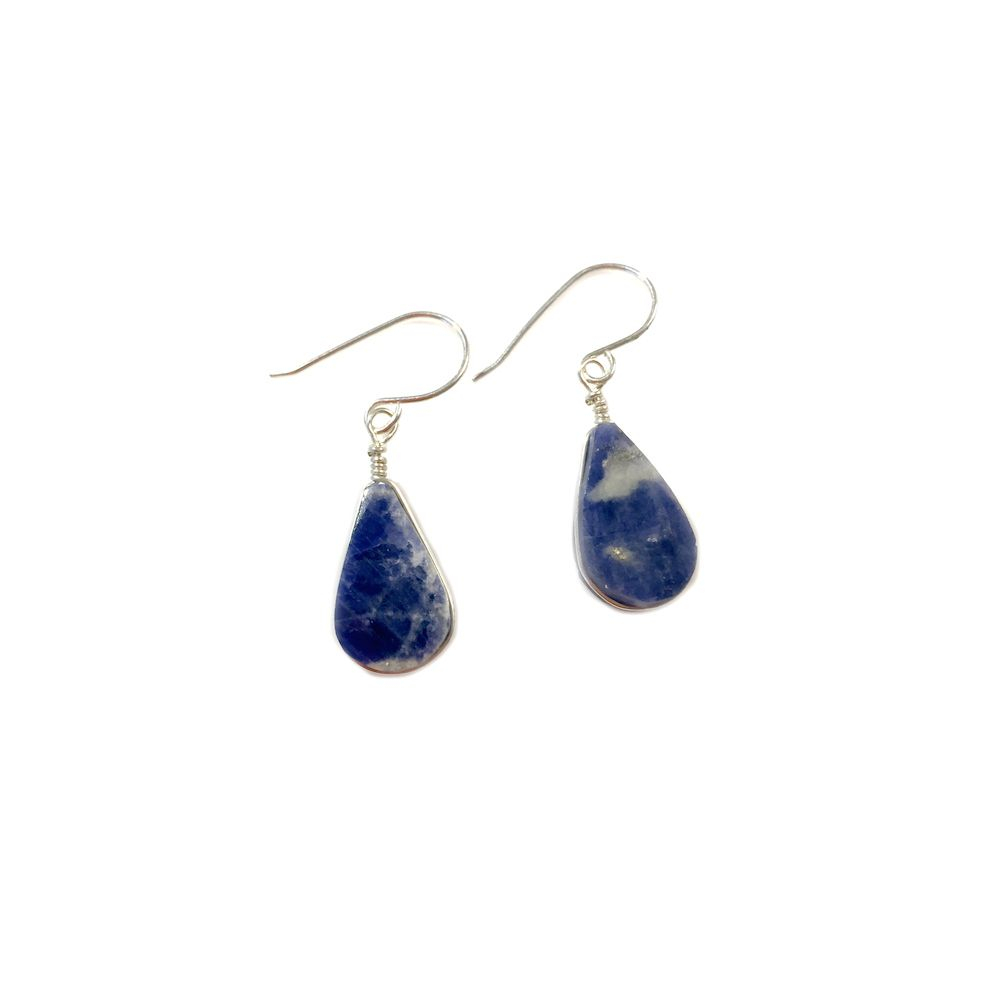Blue Sodalite earrings in Sterling Silver by designer Coco Paniora Salinas of Rumi Sumaq
