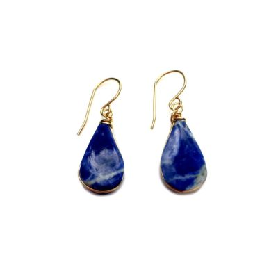 Sodalite jewelry set gold by RUMI SUMAQ. The set includes beautiful Sodalite stones cut in a teardrop shape and expertly set in gold filled wire. The chain is dainty and delicate making it a lovely gift set form someone who loves minimalist jewelry.