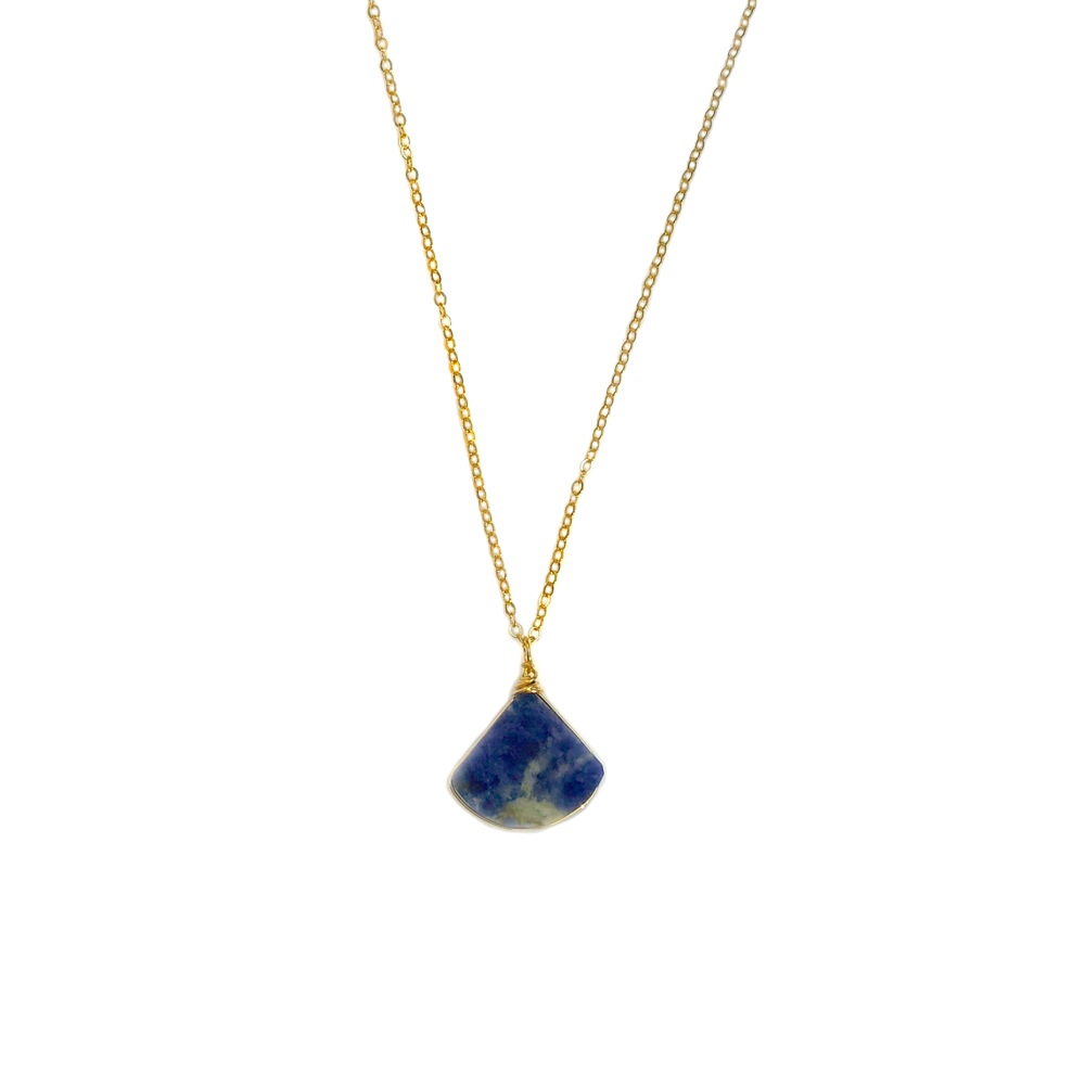 Blue Triangle Necklace Sodalite Stone: RUMI SUMAQ art jewelry handmade on Martha's Vineyard