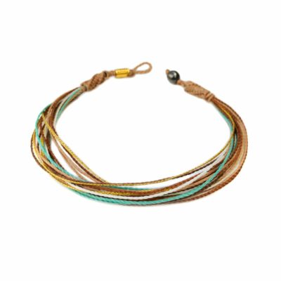 Boho Anklet for Women in Tan, Metallic Gold, Aqua, Rust Orange and Off White | Rumi Sumaq Jewelry Handmade on Martha's Vineyard