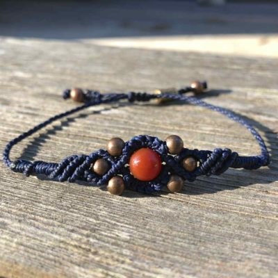 Copper Bead Bracelet Navy with Fire Agate Stone by RUMI SUMAQ jewelry. Handmade on the beautiful island of Martha's Vineyard. rumisumaq.com