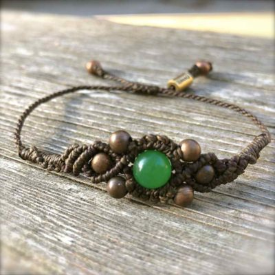 Copper Bead Bracelet Green with Jade Stone by RUMI SUMAQ jewelry. Handmade on the beautiful island of Martha's Vineyard. rumisumaq.com