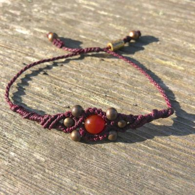 Copper Bead Bracelet Plum with Fire Agate Stone by RUMI SUMAQ jewelry. Handmade on the beautiful island of Martha's Vineyard. rumisumaq.com
