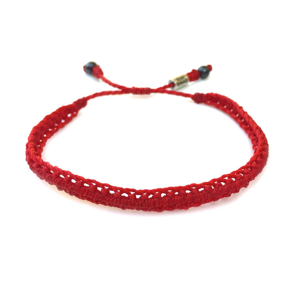Braided Bracelet Red with Hematite Stones: Handmade on Martha's Vineyard Beach Rope Surfer Bracelets