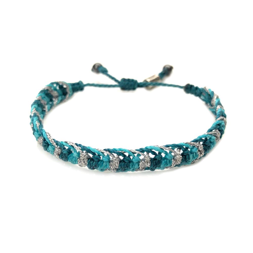 Braided bracelet aqua silver   RUMI SUMAQ woven surfer bracelets handmade on the beautiful island of Martha's Vineyard