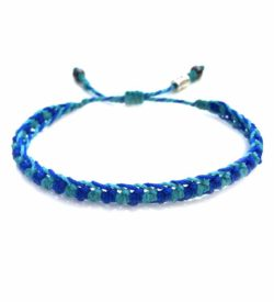 Braided Bracelet Blue Aqua with Hematite Stones: Handmade on Martha's Vineyard Beach Rope Surfer Bracelets