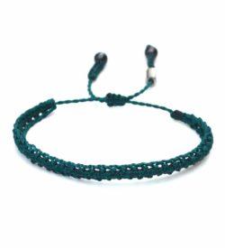 Braided Bracelet Emerald Green with Hematite Stones: Handmade on Martha's Vineyard Beach Rope Surfer Bracelets