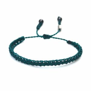 Braided Bracelet Emerald Green with Hematite Stones: Handmade on Martha's Vineyard Beach Rope Surfer Bracelets
