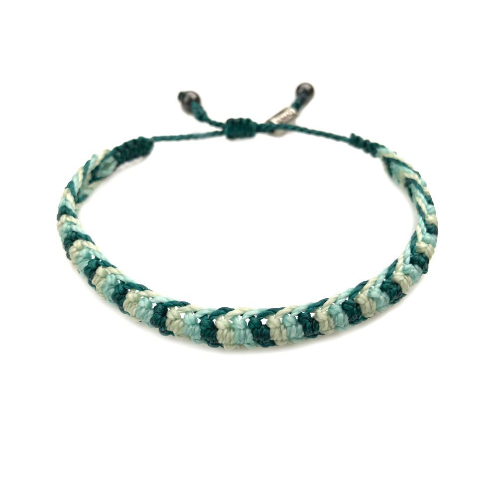 Braided bracelet green aqua   RUMI SUMAQ woven surfer bracelets handmade on the beautiful island of Martha's Vineyard