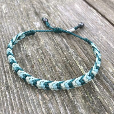 Braided bracelet green aqua | RUMI SUMAQ woven surfer bracelets handmade on the beautiful island of Martha's Vineyard