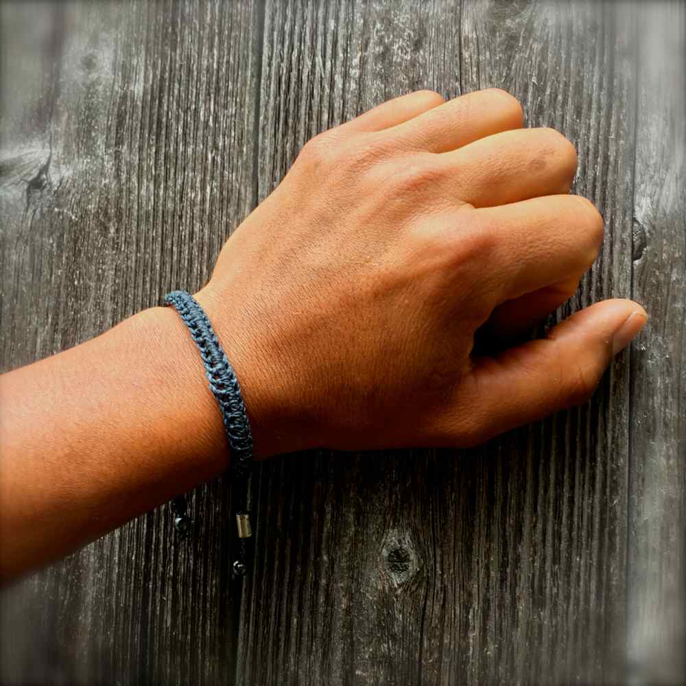 Braided Bracelet Navy Blue with Hematite Stones: Handmade on Martha's Vineyard Beach Rope Surfer Bracelets