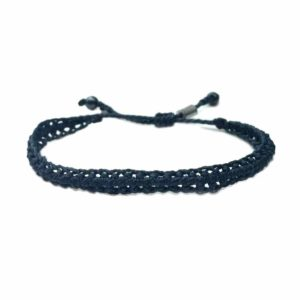 Braided Bracelet Navy Blue with Hematite Stones: Handmade on Martha's Vineyard Beach Rope Surfer Bracelets