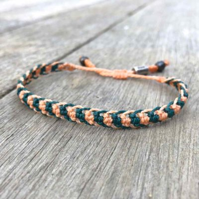 Braided bracelet peach and green macrame waxed cord | Handmade on Martha's Vineyard by designer Coco Paniora Salinas of RUMI SUMAQ