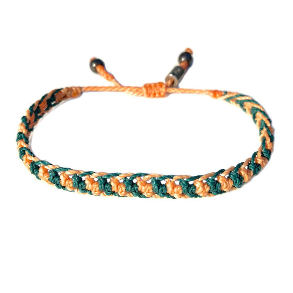 Braided bracelet peach and green macrame waxed cord   Handmade on Martha's Vineyard by designer Coco Paniora Salinas of RUMI SUMAQ