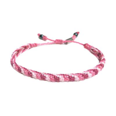 Braided Bracelet Pink with Hematite Stones by Designer Coco Paniora Salinas of RUMI SUMAQ. Handmade Woven Bracelets from Martha's Vineyard.