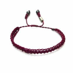 Braided Bracelet Plum Purple with Hematite Stones: Handmade on Martha's Vineyard Beach Rope Surfer Bracelets