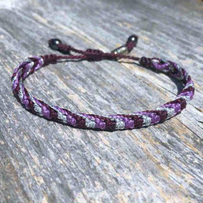 Braided Bracelet Purple and Silver with Hematite Stones | RUMI SUMAQ Art Jewelry by Designer Coco Paniora Salinas | Handmade on Martha's Vineyard