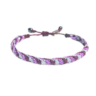 Braided Bracelet Purple and Silver with Hematite Stones | RUMI SUMAQ Art jewelry by Designer Coco Paniora Salinas