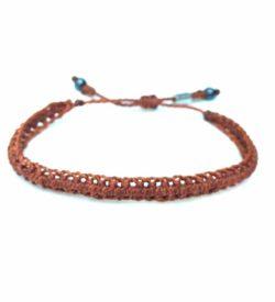 Braided Bracelet Rust Orange with Hematite Stones: Handmade on Martha's Vineyard Beach Rope Surfer Bracelets