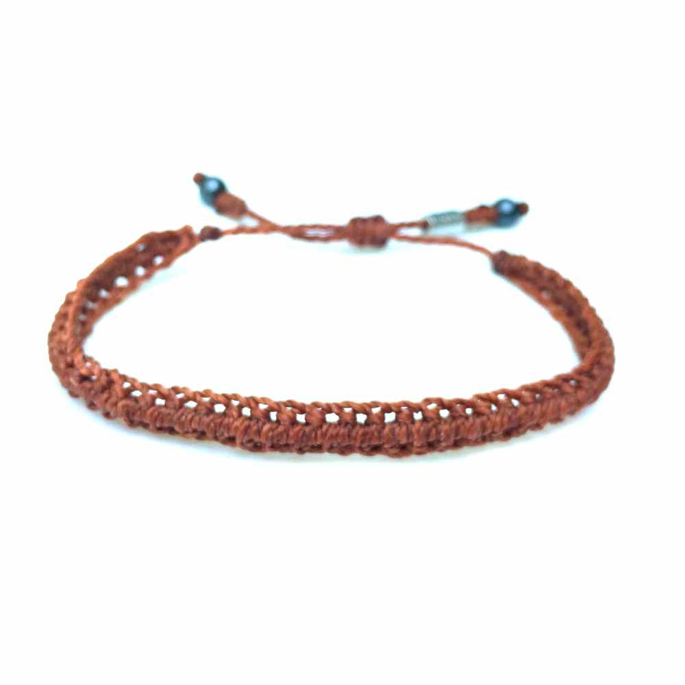 Braided Bracelet Rust Orange with Hematite Stones: Handmade on Martha's Vineyard Beach Rope Surfer Bracelets