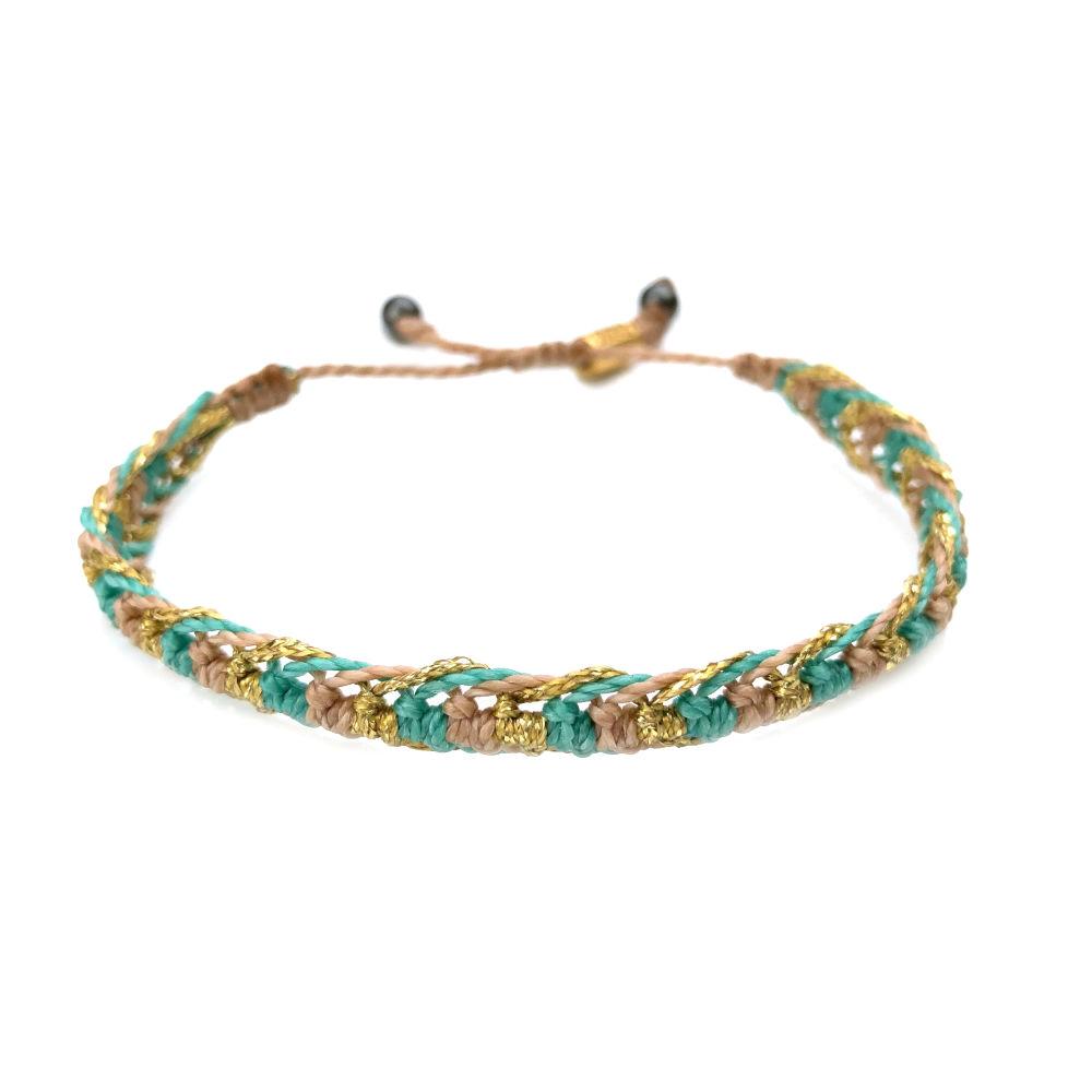 Braided bracelet tan aqua gold   RUMI SUMAQ woven surfer bracelets handmade on the beautiful island of Martha's Vineyard