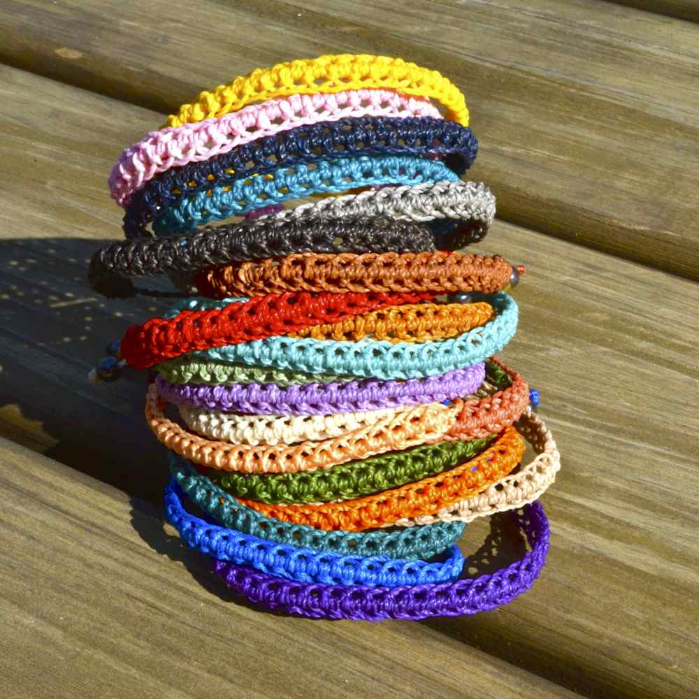 Braided Bracelet in Many Colors with Hematite Stones: Handmade on Martha's Vineyard Beach Rope Surfer Bracelets