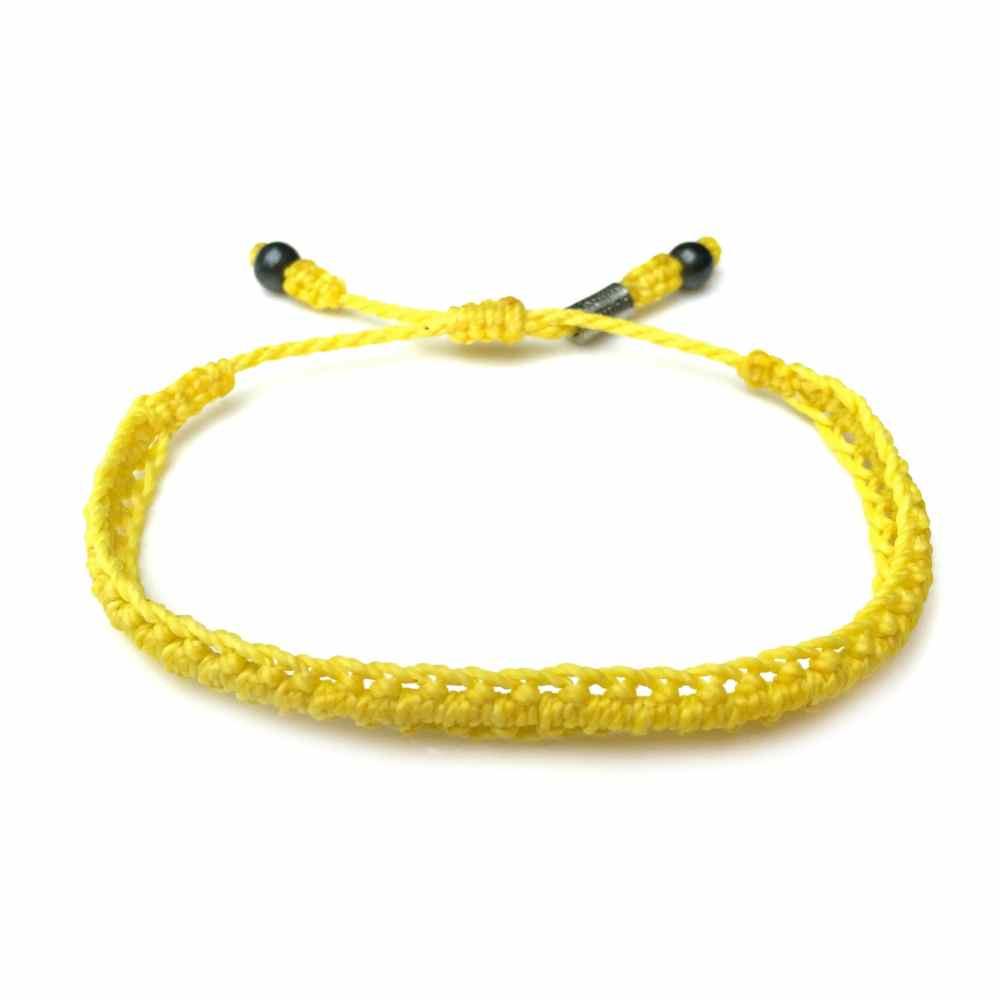 Braided Bracelet Yellow with Hematite Stones: Handmade on Martha's Vineyard Beach Rope Surfer Bracelets
