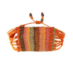 Bright Orange Bracelet - Boho Macrame Jewelry Handmade on Marthas Vineyard by Designer Coco Paniora Salinas of RUMI SUMAQ