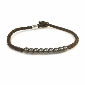 Surfer Anklet Brown Rope with Beaded Hematite Stones for Men and Women by Rumi Sumaq