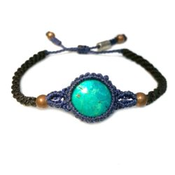 Chrysocolla Bracelet Macrame Hand-Knotted Waxed Cord in Blue and Black with Copper Beads and Hematite Stones by Designer Coco Paniora Salinas of RUMI SUMAQ Jewelry