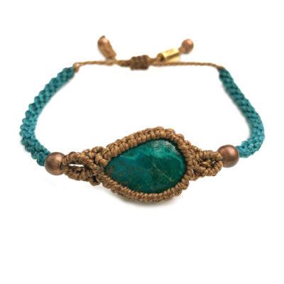 Chrysocolla stone bracelet macrame | Handmade by designer Coco Paniora Salinas of RUMI SUMAQ