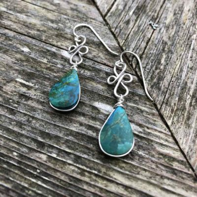 Chrysocolla dangle earrings in Sterling Silver by designer Coco Paniora Salinas of RUMI SUMAQ.