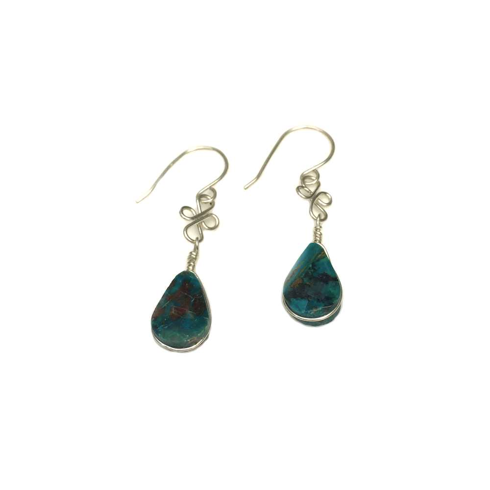 Chrysocolla earrings dangle stones in Sterling Silver wirework | Handmade metal and macrame jewelry by designer Coco Paniora Salinas of Rumi Sumaq