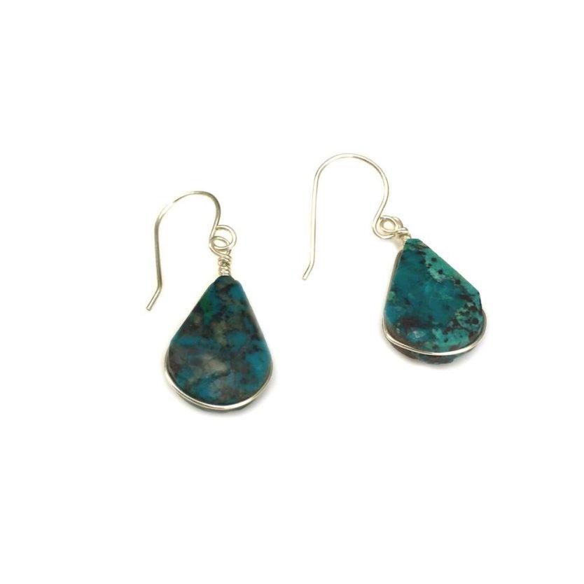 Chrysocolla earrings drop stones in Sterling Silver | Rumi Sumaq