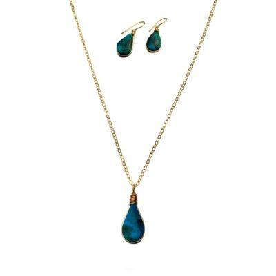 Chrysocolla jewelry set gold by designer Coco Paniora Salinas of RUMI SUMAQ jewelry