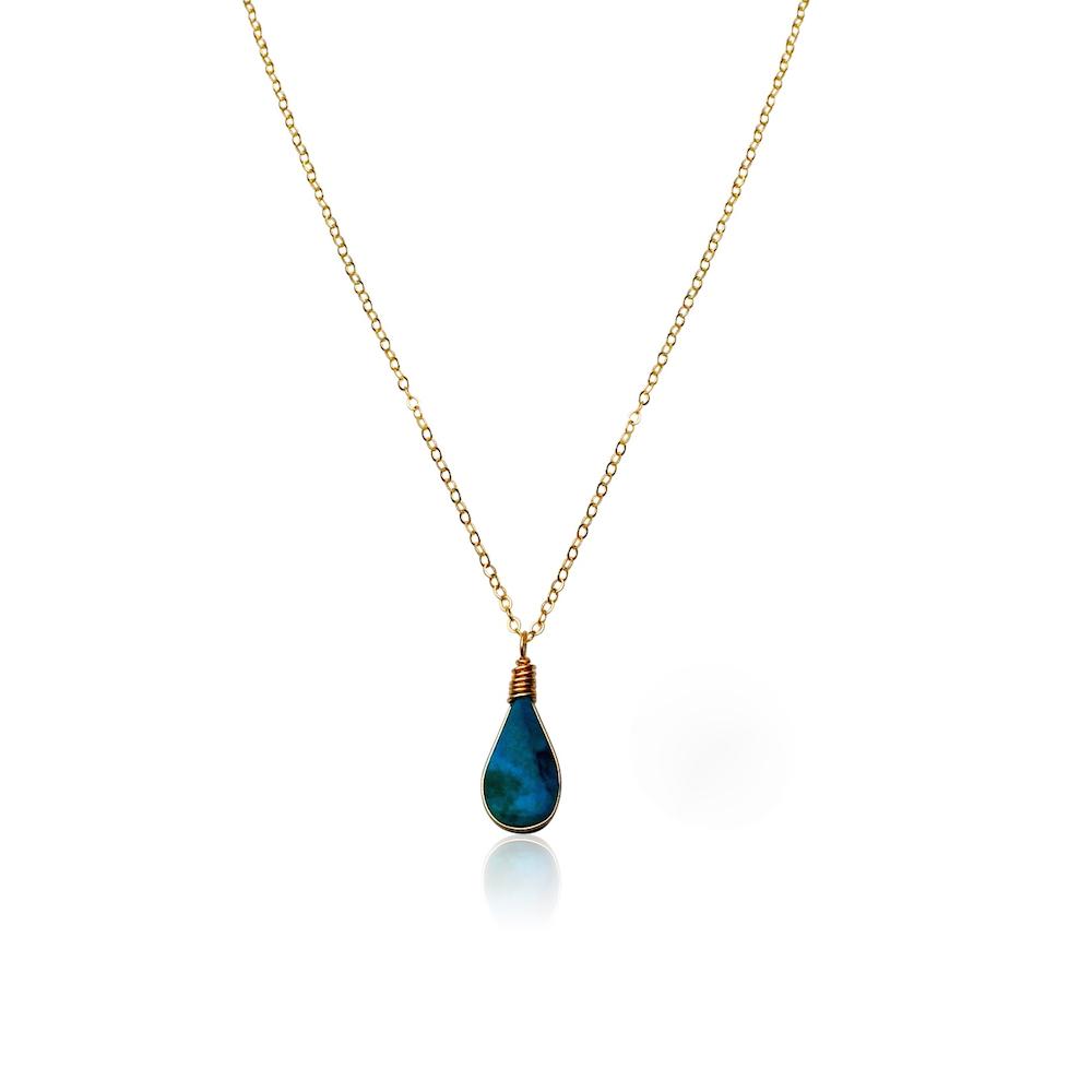 Chrysocolla pendant necklace by designer Coco Paniora Salinas of RUMI SUMAQ. Handmade jewelry from the beautiful island of Martha's Vineyard.