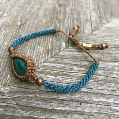 Chrysocolla bracelet macrame | Handmade by designer Coco Paniora Salinas of RUMI SUMAQ