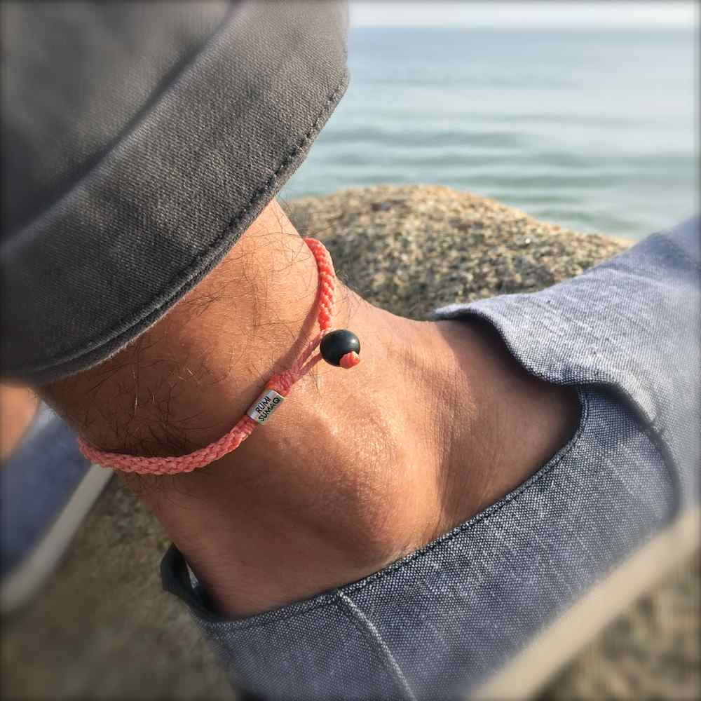 Surfer Anklet Coral Rope with Beaded Hematite Stones for Men and Women by Rumi Sumaq