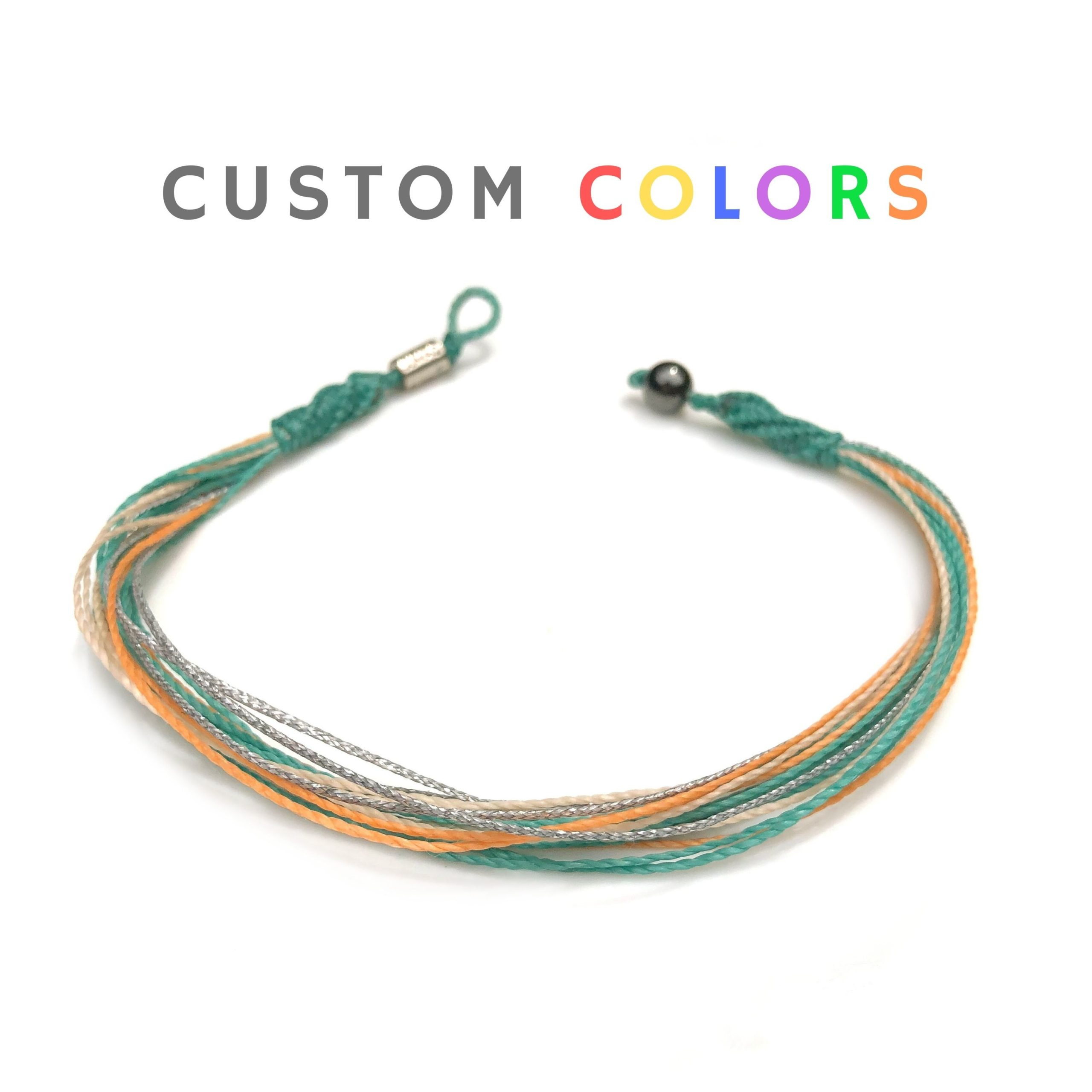 Custom anklet for men and women by designer Coco Paniora Salinas of RUMI SUMAQ. Handmade beach jewelry from Martha's Vineyard.