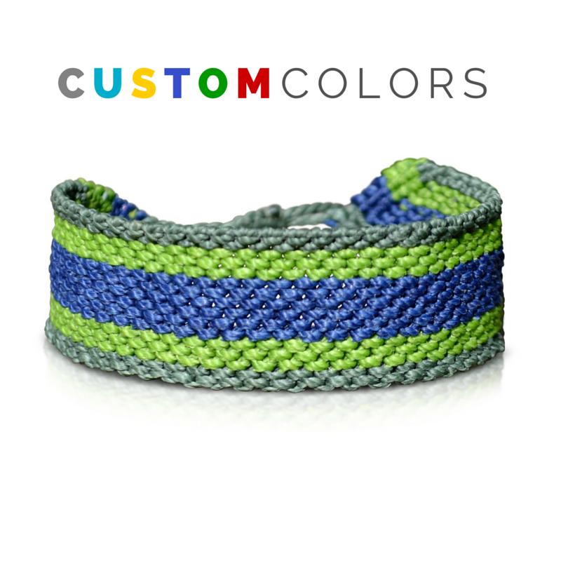 Custom Mens Bracelet - Hand-knotted Macrame Mens Friendship Bracelet by Designer Coco Paniora Salinas of RUMI SUMAQ. Handmade on Martha's Vineyard.