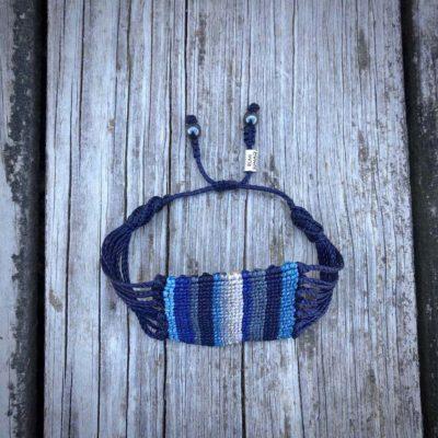 Dark Blue Macrame Bracelet - Boho Macrame Jewelry Handmade on Marthas Vineyard by Designer Coco Paniora Salinas of RUMI SUMAQ