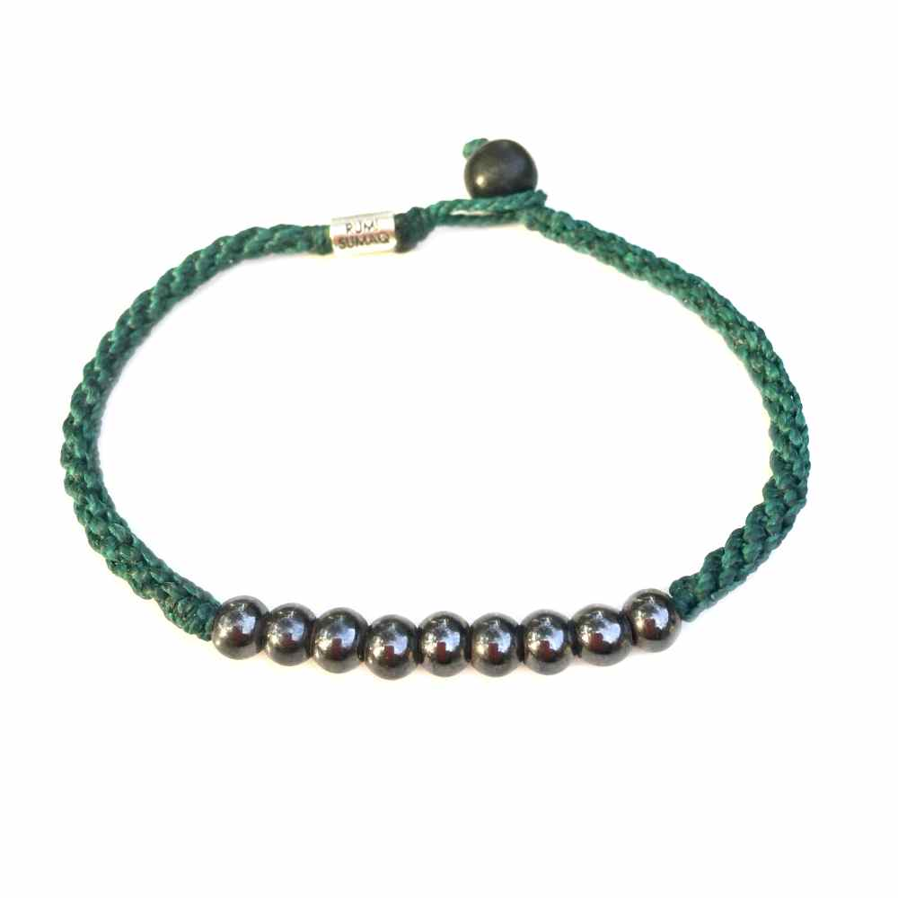 Unisex Surfer Anklet Emerald Green Rope with Beaded Hematite Stones by Rumi Sumaq