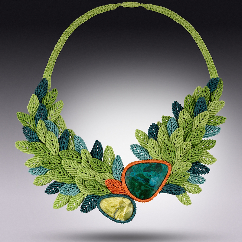 Art jewelry macrame necklace by Coco Paniora Salinas of Rumi Sumaq rumisumaq.com