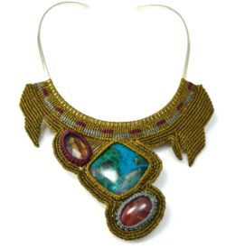 Fiber art jewelry macrame Qoya necklace at Rumi Sumaq
