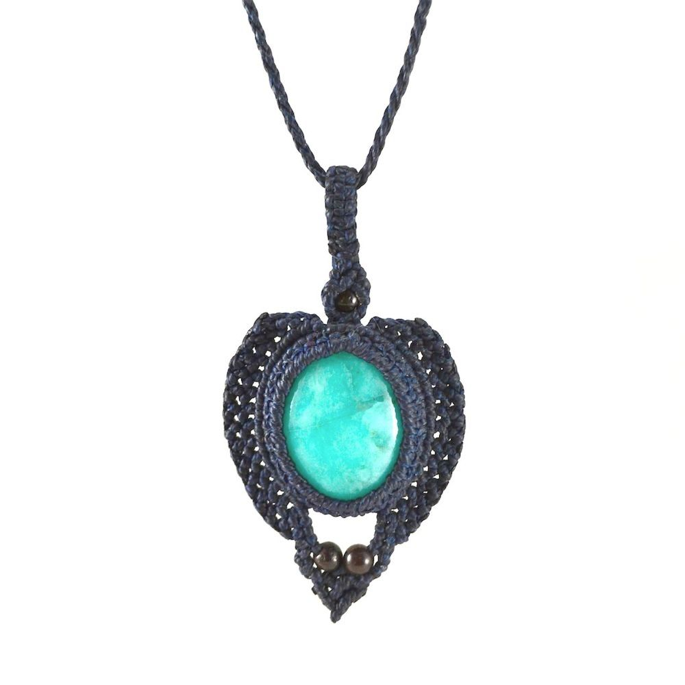 Ara pendant macrame necklace by fiber art jewelry designer Coco Paniora Salinas of Rumi Sumaq